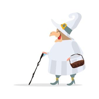 白いローブの魔女。白い帽子をかぶった魔女。ハロウィーンをテーマにしたディハインに最適です。孤立。ベクター。