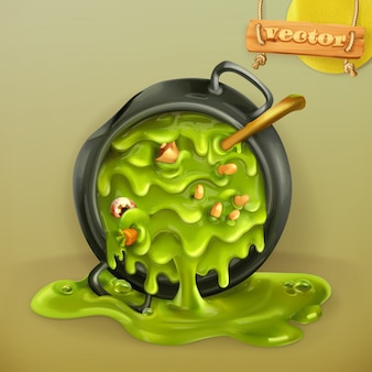Witch kitchen. pot with a potion. halloween party