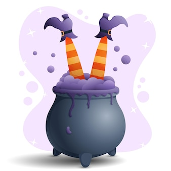 Witch legs in cauldron vector illustration