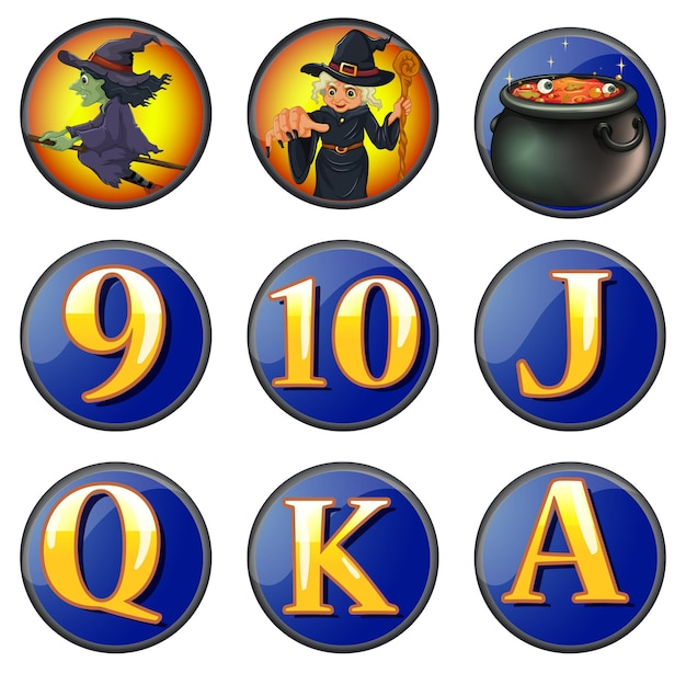 Witch and letters on round badges