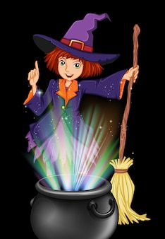 Witch and magic brew pot