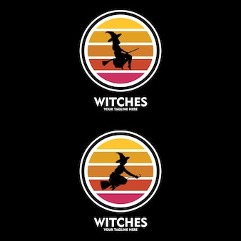 Witch on a magic broom cartoon illustration