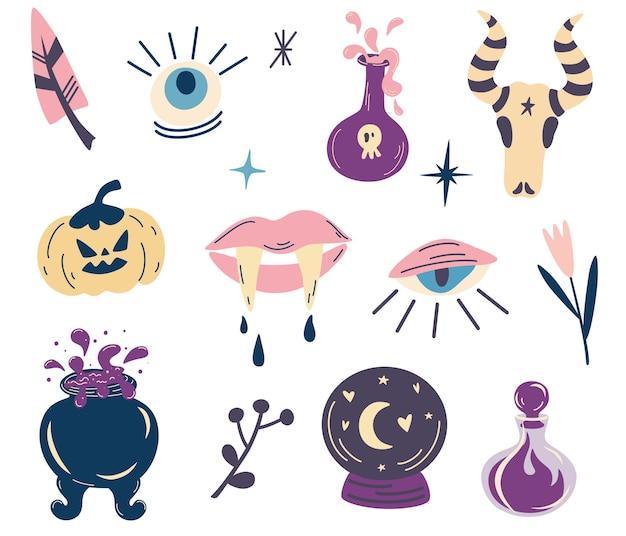 魔女の魔法のデザインコレクション。ハロウィーンの要素のセット。パーティの招待状。タトゥー、テキスタイル、カード用。魔女の大釜、ポーション、吸血鬼の牙、カボチャ、目。ベクトル漫画イラスト