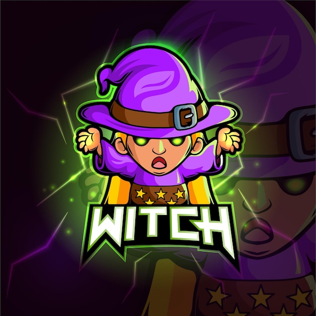 Ведьма талисман киберспорт дизайн логотипа