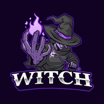 The witch mascot logo illustration