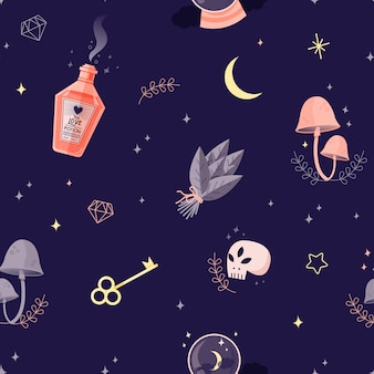Witch objects seamless pattern