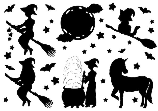 빗자루에 마녀 유니콘 고양이 달 검은 실루엣 할로윈 테마