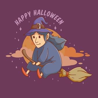 彼女のほうきで飛んでいる魔女や魔術師ハッピーハロウィンかわいい招待バナーやポスター