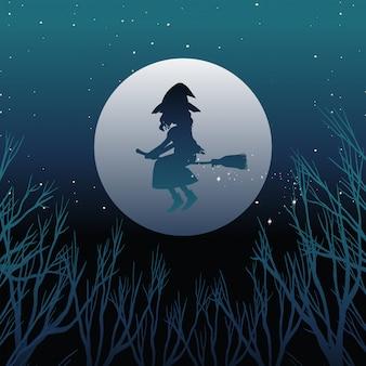 하늘 배경에 고립 된 silhouetteon 하늘에서 마녀 또는 마법사 승마 빗자루
