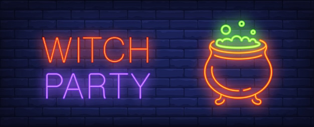 Witch party neon style banner. caldron with boiling potionon brick background.