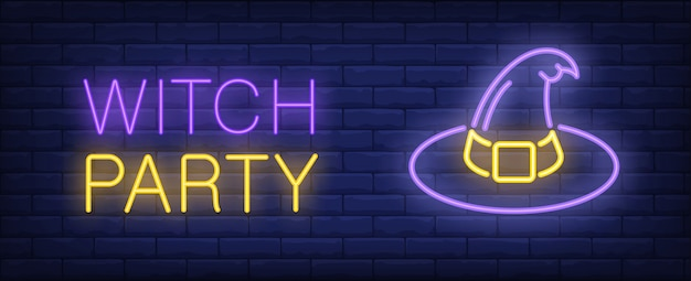 Witch party purple and yellow neon style lettering. hat on brick background.