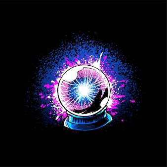 Witch plasma ballvector illustration, suitable for t-shirt, apparel, print and merchandise products