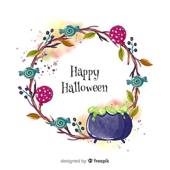 Witch pot watercolor halloween background