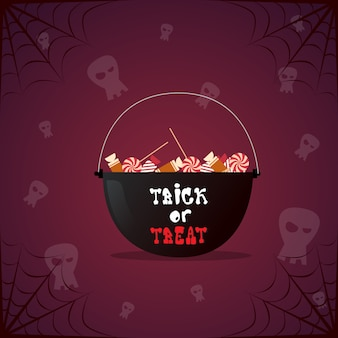 Witch pot with potion and skull. happy halloween decoration horror party