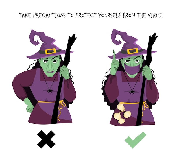 A witch in a protective mask and without warns about precautions