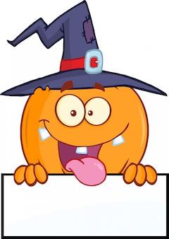 Witch pumpkin cartoon character over a blank sign