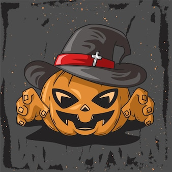 Witch pumpkin character hand drawn illustration for helloween