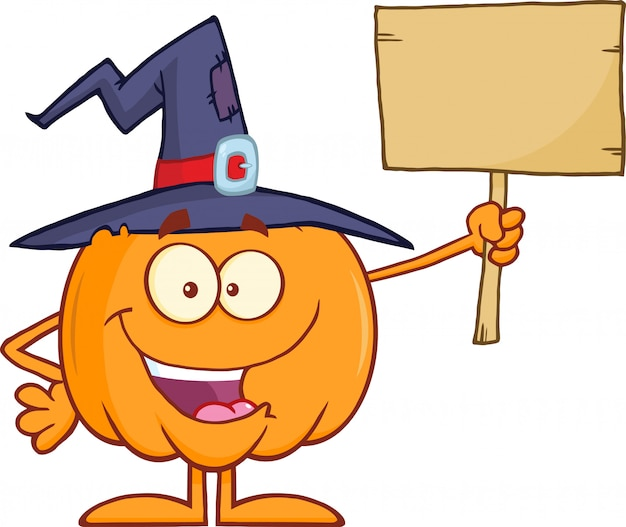 Witch pumpkin holding up a blank wood sign