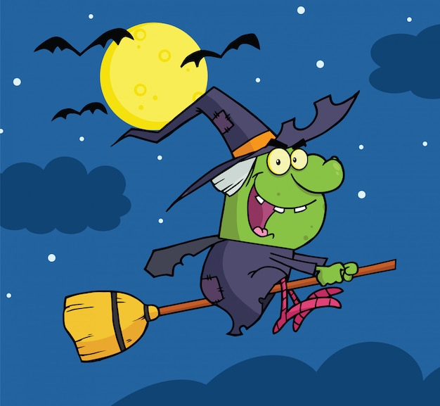 Witch ride a broomstick in the night