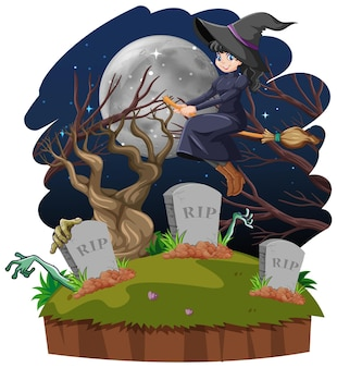 Witch rides broomstick across the tomb isolated on white background