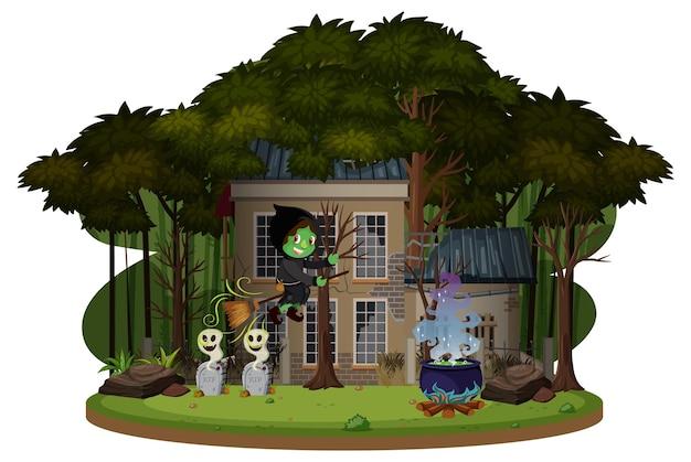 Ведьма на метле перед домом с привидениями в лесу