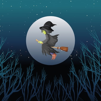 Witch riding broomstick cartoon style on dark sky background