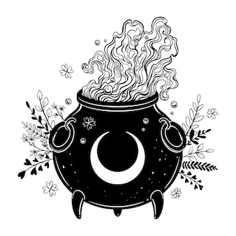 Witch's cauldron. herbal potion