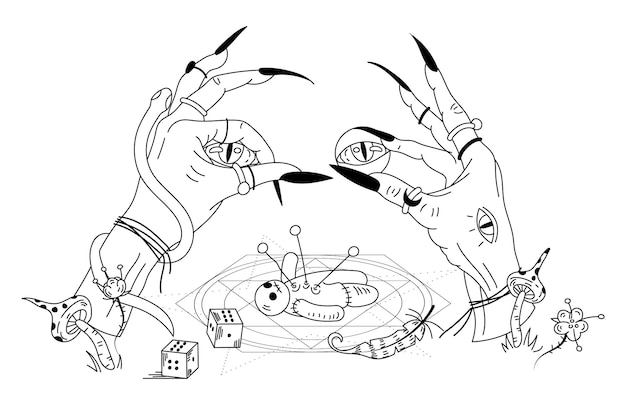 Руки ведьмы и кукла вуду. мистическая рисованная каракули вектон иллюстрация
