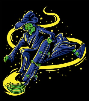 The witch skateboarding