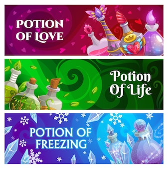 Witch or sorcerer magic potions banners with fairytale glass bottles