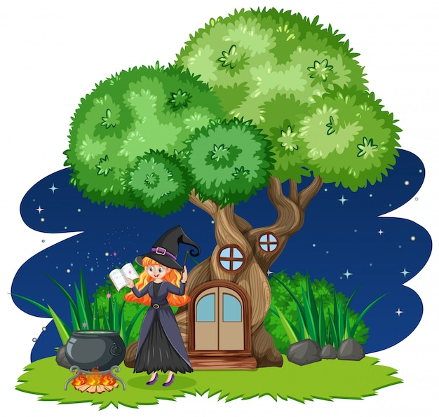 Witch standing beside tree house cartoon style on white background