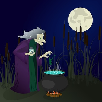 Witch in the swamp brews potions. halloween. illustration