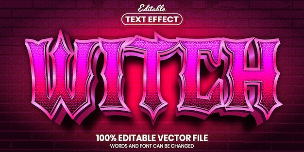 Witch text, font style editable text effect