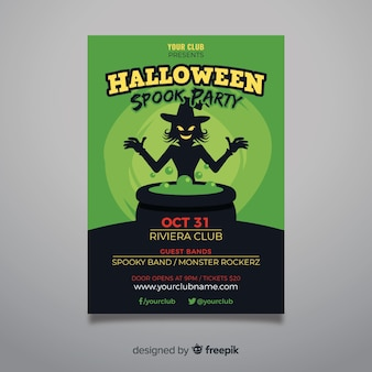 Witch and toxic light halloween party flyer