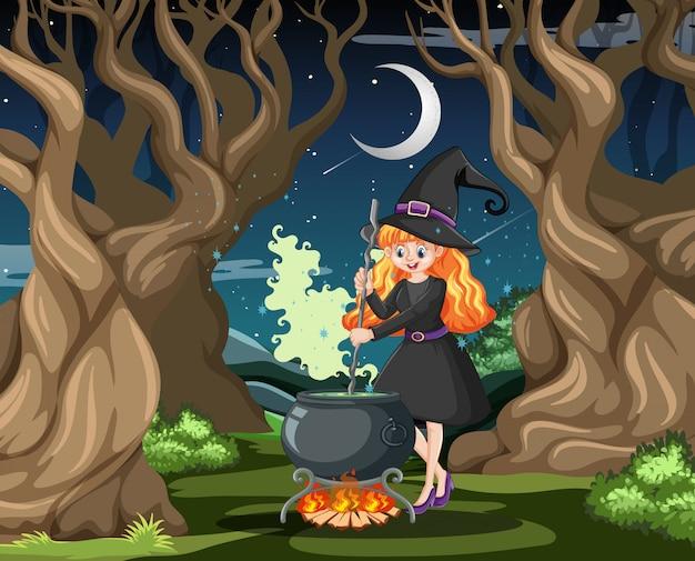 Strega con vaso nero magico stile cartoon su sfondo scuro della foresta