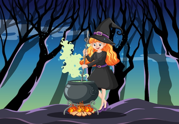 Strega con stile cartone animato pentola magica nera su sfondo foresta oscura