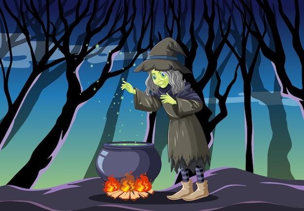 Strega con stile cartone animato pentola magica nera sulla giungla oscura