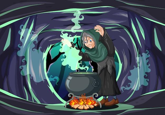 Ведьма с черным волшебным горшком в мультяшном стиле на темном фоне пещеры