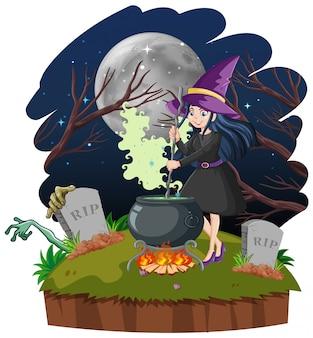 暗い森の背景に黒魔法鍋漫画のスタイルを持つ魔女
