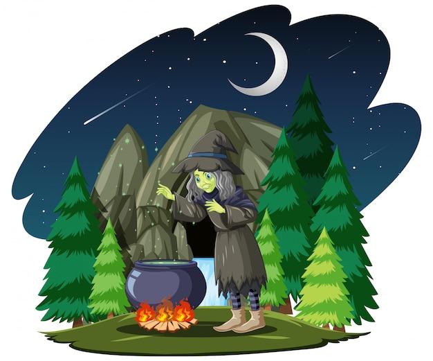 Ведьма с черным волшебным горшком в мультяшном стиле на фоне темного леса