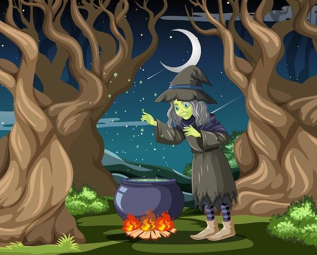 Ведьма с черным волшебным горшком в мультяшном стиле на темном фоне джунглей