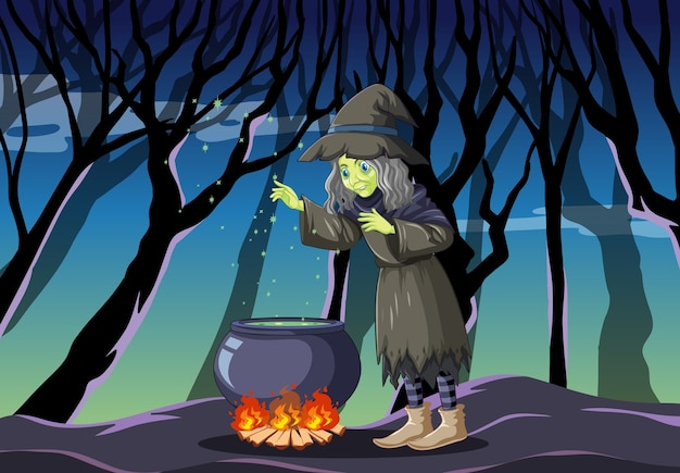 어두운 정글에 검은 마법 냄비 만화 스타일로 마녀