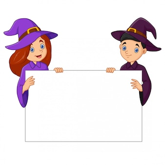 The witch with blank sign