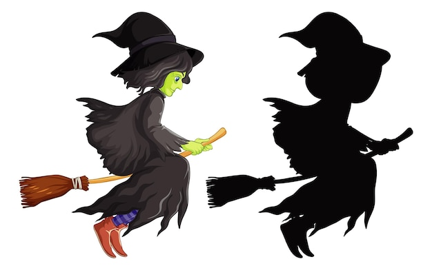 Witch with broomstick in color and silhouette cartoon character isolated on white background