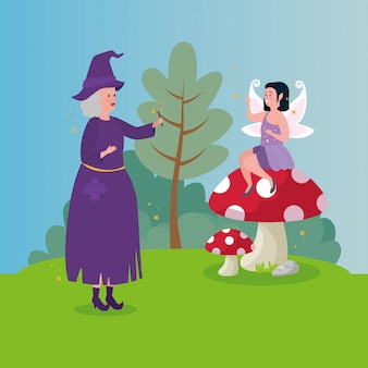 Witch with fairy in scene fairytale