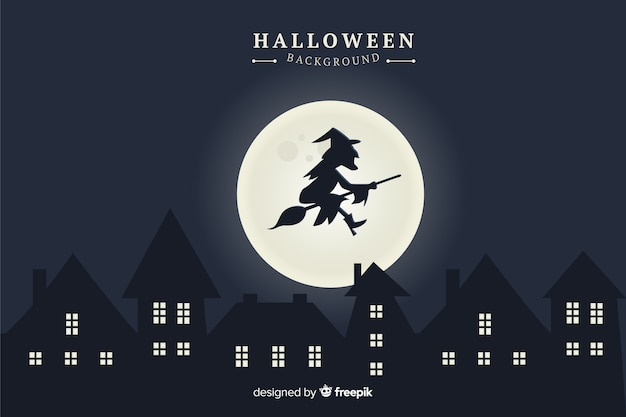 Witch with full moon halloween background