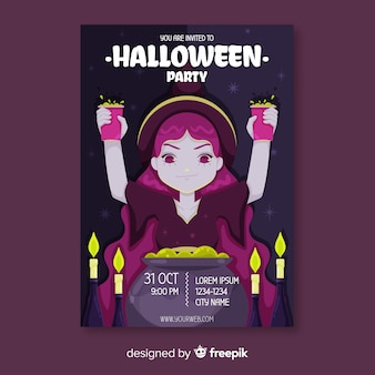 Witch with poison in hands halloween flyer template