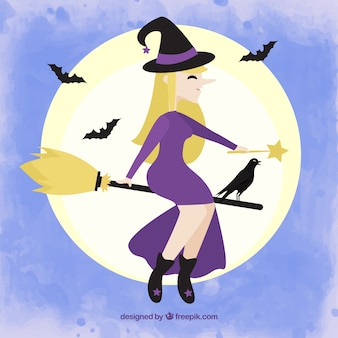 Witch with raven flying on the broom