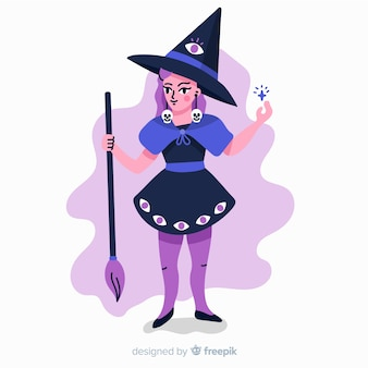 Witch with skeleton earring making a spell