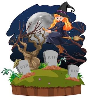 흰색 배경에 고립 된 무덤 만화 스타일 마녀